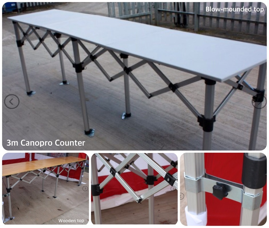 Folding counters for gazebos